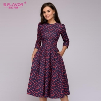 S.FLAVOR Women Elegant A-line Dress 2019 Vintage printing party vestidos Three Quarter Sleeve women Slim Autumn Winter Dress