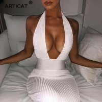 Articat Halter Backless Sexy Knitted Pencil Dress Women White Off Shoulder Long Bodycon Party Dress Elegant Summer Dress 2019