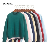 LASPERAL Wholesale Cute Women Hoodies Pullover 9 colors 2020 Autumn Coat Winter Loose Fleece Thick Knit Sweatshirt Female S-3XL