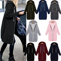 Wipalo 2020 Autumn Winter Casual Women Long Hoodies Sweatshirt Coat Zip Up Outerwear Hooded Jacket Plus Size velvet Outwear Tops