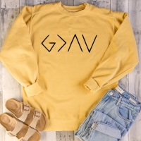 God Is Greater Than The Highs and Lows Women Sweatshirt Jesus Believe Full Sleeve Female Jumper Christian Pullover Drop Shipping