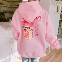 2017 New Fashion Cute Cartoon Printed Back Velvet Thick Hooded Long Sleeve Female Sweatshirts