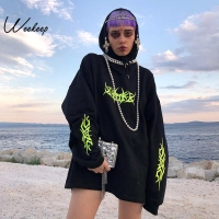 Weekeep Women Loose Streetwear Black Sweatshirt Knitted Hooded Shinning Print Hoodies Fashion Moletom Long Hoodie Women Tops