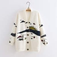 YoYiKamomo Spring Woman Sweater Knitting 2019 New Japanese Mori Girl V-neck Jacquard Cardigan Sweater Winter