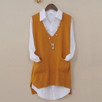 Women Cashmere Knitted Vest Female V Neck Waistcoat Side Split Pullover With Pockets Tops Women Loose Sleeveless Sweater Vest