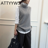 ATTYYWS Women's knitted cashmere wool high neck vest pullover women's wool sweater sleeveless vest new fashion wild Conventional