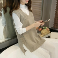 2020 Spring Autumn Wool Sweater Vest Women Sleeveless O-Neck Knitted Vests Long Sections Poullover Vest Female Jumper Pull Femme