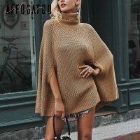 Affogatoo Turtleneck knitting poncho winter sweater 2018 Oversize camel casual pullover women Loose warm black jumper pull femme