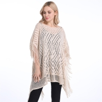 Summer Autumn Woman PonchoThin Sweater Solid Hollow Poncho Cardigan Plus Size Sweaters Tassel Pullovers Bikini Cover Up