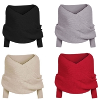 Womens Off Shoulder Oversized Loose Knitted  Batwing Sleeve Sweater