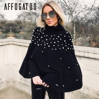 Affogatoo Beading casual knitting cloak women Turtleneck sweater oversized loose pullover Winter fashion knitted sweater femme