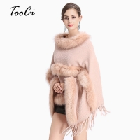 New Fashion Women Spring  Faux Fur Bat Sleeve Ponchos And Capes Pink Round-Neck Knit Sweater And Pullovers Faux Fur Coat Wedding