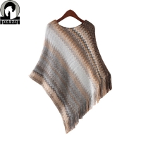 Batwing Sleeve Tassel Knitting Cloak Sweater 2019 Women Lrregular Wave Pattern Tricot Cape Poncho spring Winter Jumper Knitted W