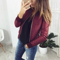 Autumn Winter O neck Casual Bomer Jacket Fashion Slim Padded Pocket Parkas Full Sleeve Zippers Jackets Coat High Street