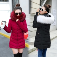 winter jacket women 2019 female coat Hooded Slim Outwear woman long parka Faux fox fur Cotton Padded abrigos mujer invierno