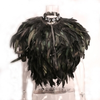Fashion Women Jacket Feather Shrug Shawl Cape Sleeveless Outerwear Party Cosplay Halloween Xmas Christmas Gift Paragraph Prop