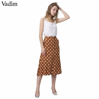 Vadim women vintage dot print midi skirt button design pockets A line ladies casual summer mid calf skirts falda mujer BA022