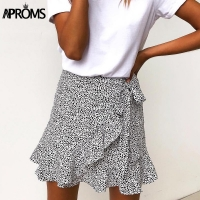 Aproms Multi Dot Print Short Mini Skirts Women Summer Ruffle High Waist Bow Tie Skirt Ladies Streetwear Slim Bottoms Saias 2019