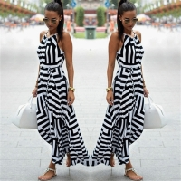 Summer Dress Women Sexy Boho Striped Sleeveless Maxi Long Dress Beach Style Strap Sundress Vestidos For Female 987428
