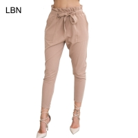 2019 New Brand High Elastic Waist Harem Pants Women Spring Summer Fashion Ninth Pants Female Office Lady Black Trousers Belt