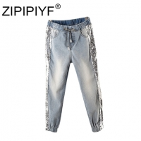 Largesize 5xl Patchwork Sequined Jeans Women Washed Denim Trouser Jeans Female Elastic Waist Cargo Pants Side Striped Jeans B010