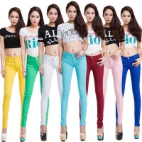 Whole cotton Seven colors pinkycolor Elastic force Pencil pants high waist jeans woman skinny women jeans mujer jean plus size