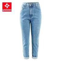 1886 Youaxon 100% Cotton Vintage High Waist Mom Jeans Women`s Blue Black Denim Pants Boyfriend Jean Femme For Women Jeans