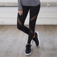 Women Casual Leggings Fitness Winter Jeggings New Arrival Ladies Elastic Waist Color Pants Block Mesh Insert Leggings 6012/3002