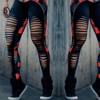 SVOKOR Women Leggings High Waist Patchwork Sexy Hollow Out Printed  Summer Breathable Dry Quick Sporting Fitness Leggings