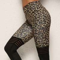 High Quality Women Leopard Print Leggings No Transparent High Knee Stripes Patchwork Push Up Workout Legging  Elastic Pants