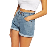 Europe Blue Crimping Denim Shorts For Women 2020 Summer New Casual Plus Size Ripped Hole Short Jeans Womens High Waist Shorts