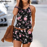 FREE OSTRICH Women's Summer Sling Short Jumpsuits O-neck Fashion Printeddies Beach Casual Backless Slim Rompers Plus Size