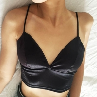 Sexy Satin Crop Tops Women Wireless Bralette Crochet Top Female Spaghetti Strap T-shirt Cropped With Chest Padded Camisole