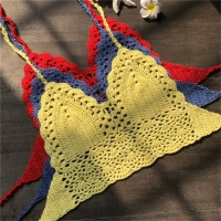 New Knit Crochet Cami Summer Bikini Beach Crop Top Sexy Women Bralette Halter Neck Crop Tops S / M / L / XL HOT