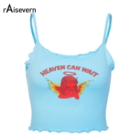 Raisevern Cute Women Crop Top HEAVEN CAN WAIT Print Blue Tee Tops Harajuku Summer Tops Cropped Cami Tank Top Dropship