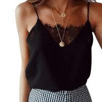 Womens Blouse Tee Lace T shirts Vest Summer Sexy Vest Fashion Camisole Crop Top Sleeveless T-Shirt Tank Top