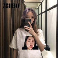 Short-sleeved LOVE elastic round neck simple cute girl solid color black and white printing women's shirt summer high quality