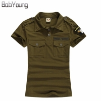 BabYoung New Summer Casual Polo Women Tops Camouflage Army Green Cotton Shirts Polo Femme Polos Mujer Short Sleeve Shirt Black