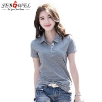 SEBOWEL Summer Polo Shirt Woman Solid Lapel Jersey Shirts Slim Plus Size 2020 Female Short Sleeve Office Lady Fashion Tops Polos