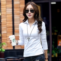 Spring Autumn Polo Shirt Women 2018 Long Sleeve Solid Slim Polos Mujer Shirts Tops Fashion Plus Size Polo Femme Candy Color