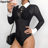 Rapwriter Sexy Transparent Mesh Panelled Skinny Turn-down Collar Bodysuits Women 2018 Spring Long Sleeve Open Crotch Bodysuit