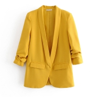 Bella Philosohy Spring Fashion Yellow Blazer Suit Women OL Puff Sleeve Workwear Blazer Three Quarter Ladies Outwears Pink Blue