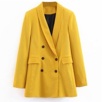 2020 Women Double Breasted Long Blazers Office Lady Small Suit Jacket Ladies Leisure Yellow Blazer Loose Coat Streetwear