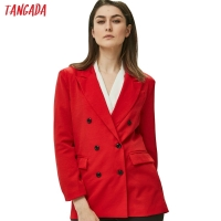 Tangada Women Red Suit Jacket Formal Blazer 2019 Double Breasted Pocket Women Blazer Work Office Business Suit Outwear SX01