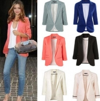 2018 Candy color seven-point sleeves  small suit commuter models slim women blazers