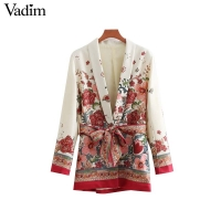 Vadim women vintage floral print blazer bow tie sashes long sleeve coat female retro chic outerwear casaco feminine tops CA014