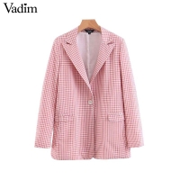 Vadim women pink plaid blazer pockets single button long sleeve female casual coats office wear outerwear chic tops CA441