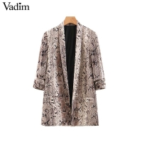 Vadim women chic snake print blazer animal pattern gathered three quarter sleeve pockets outerwear female casual tops CA261