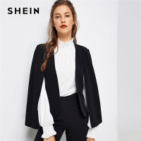 SHEIN Black Poncho Office Lady Streetwear Cloak Open Front Blazer 2018 Autumn Elegant Modern Lady Workwear Women Coats Outerwear