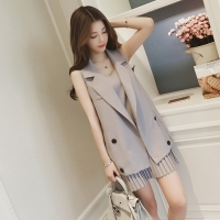 Two-pieces 2018 New Summer Autumn Women Dress Suits Casual Vest Blazer + Tank Dress Set Coat Ladies Sleeveless Office Suits A920